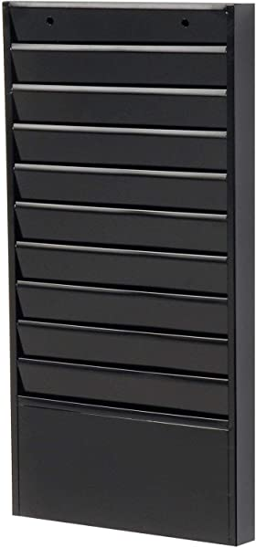 Steel Wall Hanging File Holder Organizer Mounted 10 Pockets 13 1 4 W X 1 15 16 D X 26 1 4 H Black