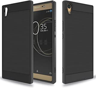 Wtiaw for:Sony Xperia XA1 Ultra Case,Sony Xperia XA1 Ultra Dual Case, [TPU+PC Material] [Brushed Metal Texture] Hybrid Dual Layer Defender Case for Sony Xperia XA1 Ultra-CL Black