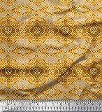 Soimoi Gold Baumwolljersey Stoff Damast Aquarell Drucken