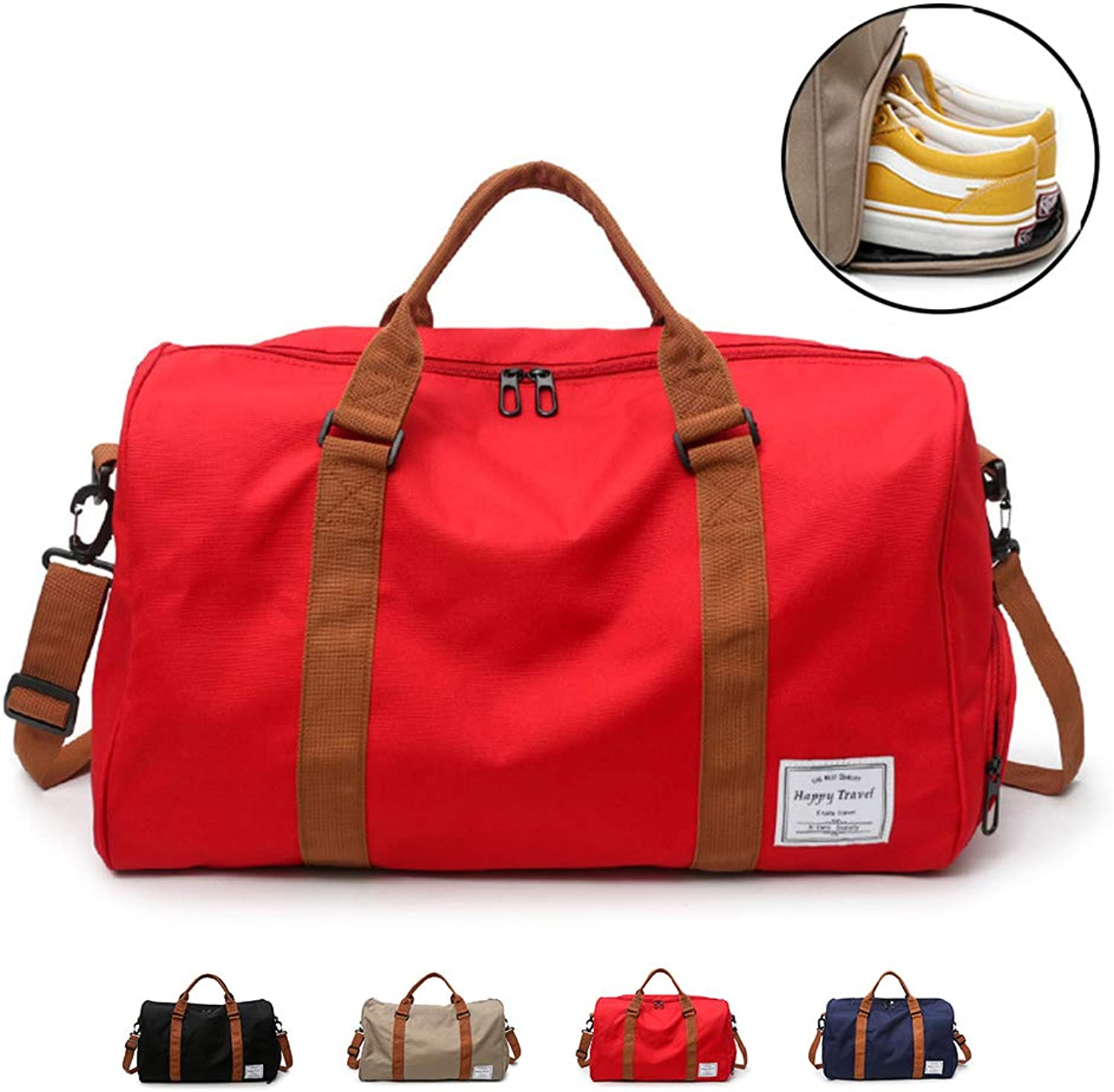 Sports Gym Bag with shoes Compartment, Travel Duffle Bag for Men and Women,Red