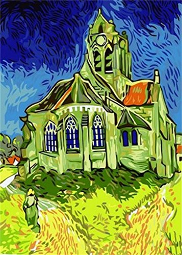 Colour Talk DIY Oil Painting, Paint by Number kit - The Church at Auvers by Vincent Van Gogh 1620 inch.