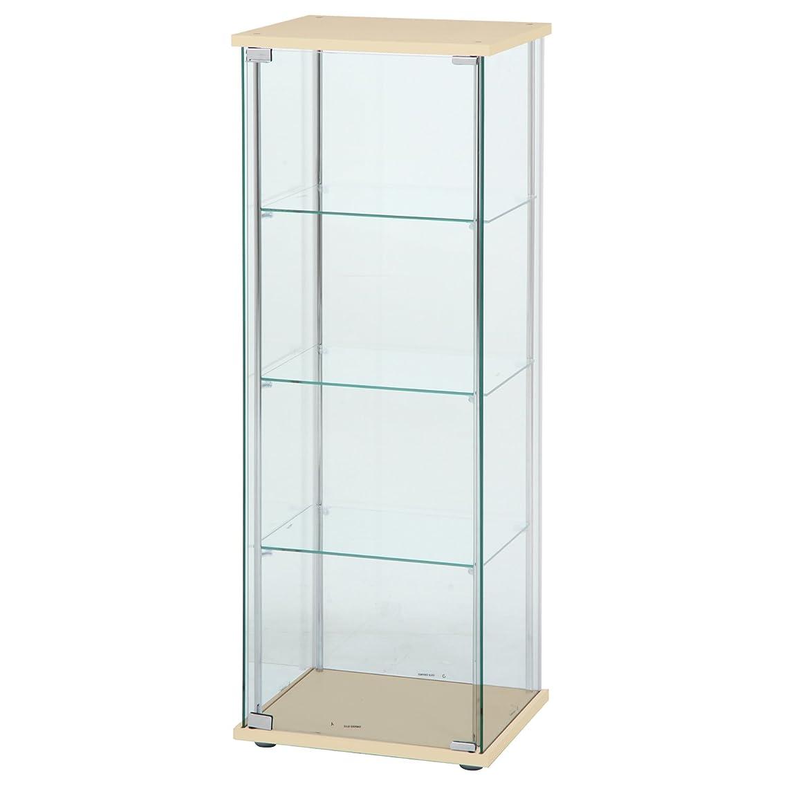 極地風刺あざ不二貿易 ガラスコレクションケース 4段ロータイプ 幅42.5?高さ120cm ナチュラル