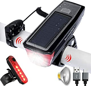 BurningSun Bike Light Set and Horn Solar Powered USB Rechargeable 4 Mode Bicycle Headlight Taillight Combinations Front Back Light & Bell for Cycling Riding Safety Warning Rear Tail Light LED Speaker