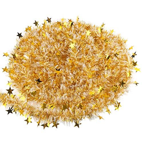 VEYLIN Lametta-Girlande für Weihnachten, 10 m, goldfarben und weiß