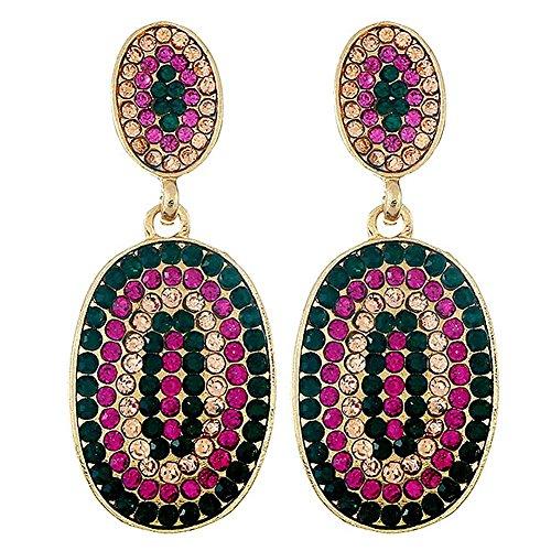 Pendientes de tuerca ovalados geométricos con diamantes de imitación para mujer europea.