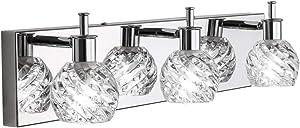 Ralbay Modern Vanity Light Fixtures 3 Lights LED Modern Vanity Light Bathroom Fixtures Over Mirror LED Modern Crystal Glass Globe Vanity Lights