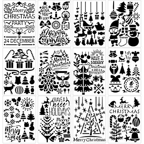 Qpout 12 Stück Weihnachtsmalerei Schablonen, Wiederverwendbare Zeichnung Vorlagen, Weihnachtsmann Weihnachtsbaum Rentier Schneeflocke Glocke Kunststoff Schablone für Weihnachten DIY Dekoration