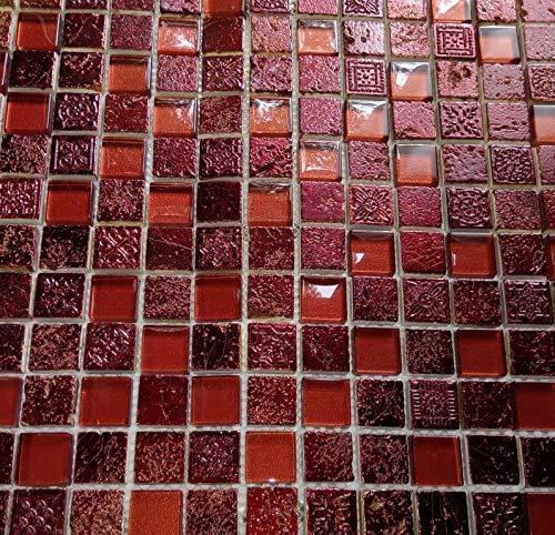 Mosaik Fliese Transluzent rot Glasmosaik Crystal Resin rot für WAND BAD WC DUSCHE KÜCHE FLIESENSPIEGEL THEKENVERKLEIDUNG BADEWANNENVERKLEIDUNG Mosaikmatte Mosaikplatte