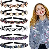 6 Pieces Double Bangs Hairstyle Hairpin Headband Double Layer Twist Plait Headband Korean Braided Headbands with Clips Hollow Woven Headband Hair Accessories for Women Girls (Classic Style)