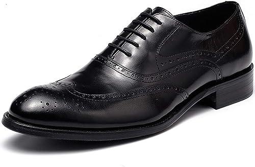 XWQYY Robe Oxford Chaussures Affaires Bullock sculpté à la Main Chaussures Oxford Fait à la Main sur Mesure pour Hommes Angleterre,noir-44EU