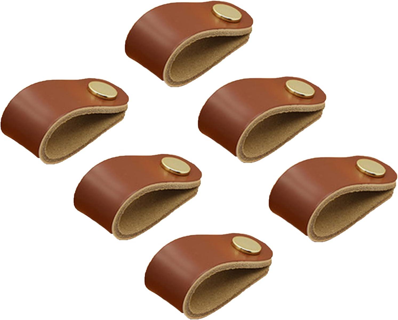 6 piezas Tiradores de Cuero,Tiradores Cuero para Cajones, hechos a mano Tiradores de Cuero, Perillas de muebles de cuero, Pomos Tiradores Cuero muebles de cuero manija,con Tornillos(color marrón)