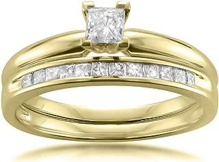 14k Yellow Gold Princess-Cut Diamond Solitaire Engagement Bridal Set Wedding Ring (1/2 cttw, I-J, I2-I3)