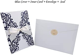 1pcs Gold Blue Silver Glitter Paper Laser Cut Wedding Invitation Card With Ribbon Personalized Wedding Decor Party Supplies-One Blue Set-