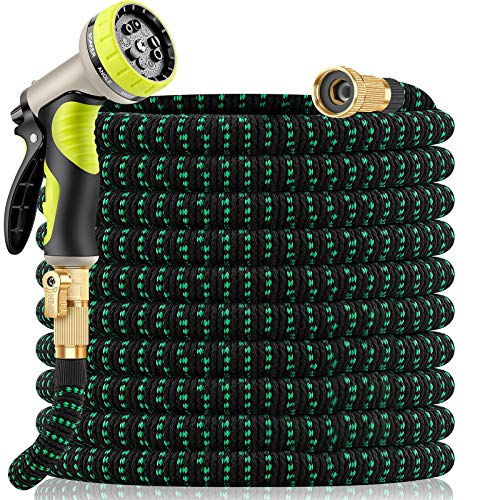 Yetolan Expandable Garden Hose 50 feet with 9 Function High Pressure Nozzle, lightweight Water Hose with Durable 3 Layers Latex Core and Solid Brass Fittings, retractable hose for Washing and Watering