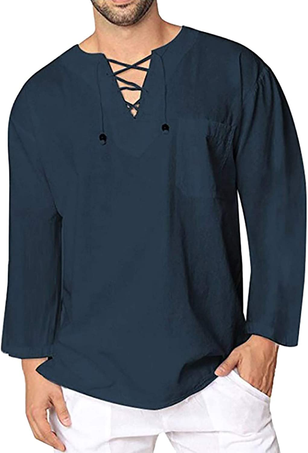 WOCACHI Lace-up Henley Shirts For Mens, Long Sleeve Drawstring Loose Fit Tee Shirt Casual Solid Tops with Pocket