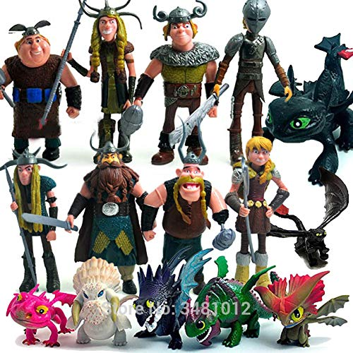 15 PCS How To Train Your Dragon 2 Night Fury Toothless PVC Action Figures Anime Figurines Dolls Kids Toys Set Cute Anime Doll Gift