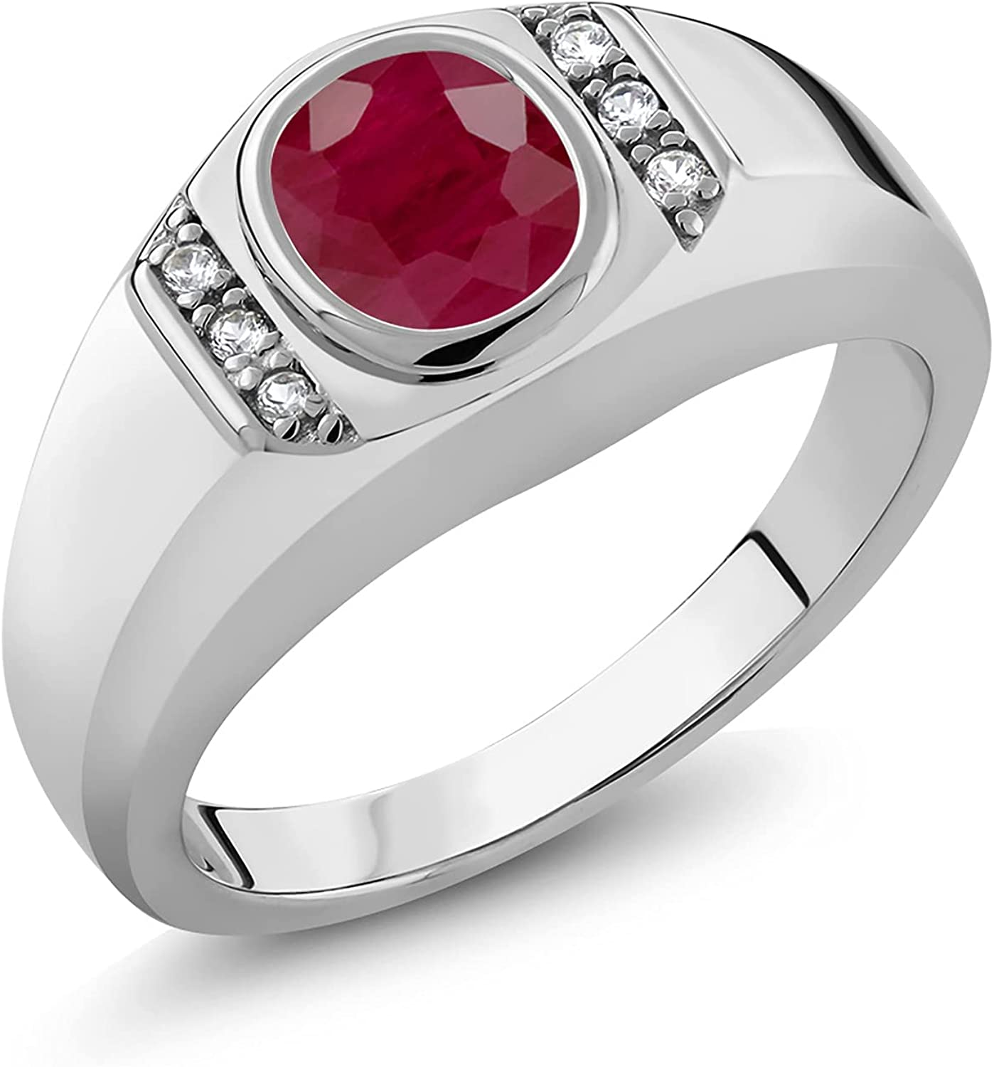 Gem Stone King 送料無料激安祭 1.66 Ct Oval White Created Ruby 925 Red 店舗 Sapphire