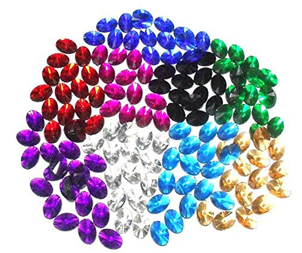 GOELX Kundan Stones Oval Shaped for Crafts, Jewelry Making, Decorations etc. Pack Of 200 Stones - MultiColour