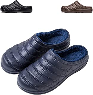 WOTTE Slippers Winter Women's and Men's Slip on Fur Lined Waterproof House Shoes