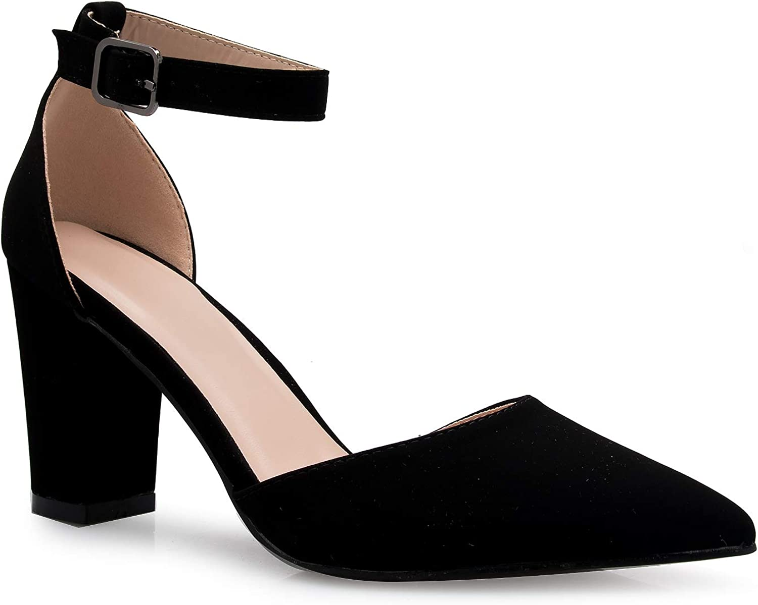 Olivia Super Special SALE held K Women's Sexy D'Orsay Ankle Heel Block Strap Pointed Toe Max 81% OFF