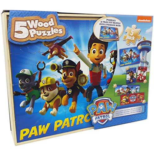 Paw Patrol 5 Wood Jigsaw Puzzles in Wood Storage Box, Multi, Standard