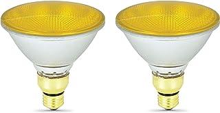Pack of 2 70Par38/FL/Y Halogen 70-Watt, Yellow BugFloodlight, Medium Based (E26), PAR38 Reflector Colored Bulb, Yellow