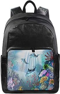 Women/Men Bookbag Underwater World 590 Casual Canvas Backpack School Back Pack Rucksack Daypack for Students