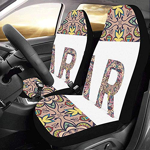KDU Fashion Car Seat Protector,Segno Tribale in Stile Etnico Roma Parigi Pratico Proteggi Seggiolino Auto Anteriore per Camionista 2pcs