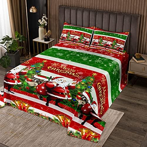 Loussiesd Weihnachtsmann Tagesdeck 240x260cm Weihnachten Thema Bettüberwurf Frohe Weihnachten Steppdecke Für Kinder Luxus Schneeflocken Waben Wohndecke Rot Grün WeihnachtenZimmer Dekor