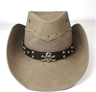SXQ Summer Men's Women's Straw Hat 100% Leather Casual Denim Sunproof Western Cowboy Hat Fedora Hat Outdoor Travelling Beach Sun Hat With Metal Skull Decoration Gentlemen's Hat UV Protective Visor Cow