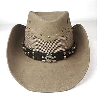 Hats  and Caps Summer Hat for Men Women Western Cowboy Hat Mesh Leather Wide Brim Hat Outdoor Sombrero Hombre Cowgirl Hat Jazz Hat (Color : Khaki, Size : 58-59cm)