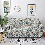 WXQY Conjunto de sofás elásticos, Conjunto de sofás para Sala de Estar, Mandala Bohemio, Estampado de Flores, protección de Muebles, Funda de sofá A3, 1 Plaza