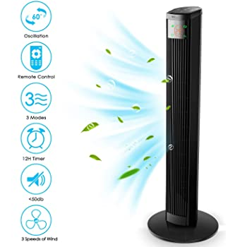 Amzdeal Ventilador de Torre - con Control Remoto, 96 cm Ventilador Vertical con 3 Velocidades y 3 Modos de Viento, Pantalla LED & Panel Táctil, Temporizador 12H, Oscilante 60°, Silencioso, 45 W, Negro: Amazon.es: Hogar