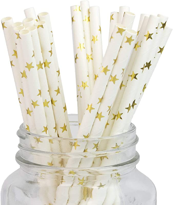 Decorative Gold Star Paper Straws 100 Pack Biodegradable Sturdy Drinking Straws For Juices Shakes Smoothies Cake Pops