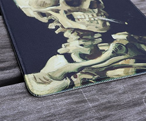 dealzEpic - Art Mousepad - Natural Rubber Mouse Pad with Famous Painting of Skull of a Skeleton with Burning Cigarette by Vincent Van Gogh - Stitched Edges - 9.5x7.9 inches Photo #4