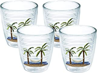 Tervis 1035977 Palm Tree & Hammock Scene Tumbler with Emblem 4 Pack 12oz, Clear