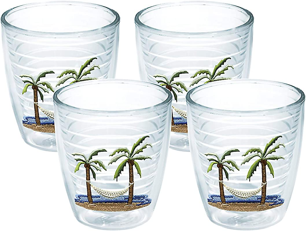Tervis 1035977 Palm Tree Hammock Scene Tumbler With Emblem 4 Pack 12oz Clear