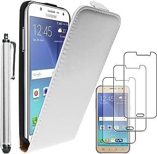 ebestStar - Funda Compatible con Samsung J5 Galaxy SM-J500F (2015) Carcasa Ventana Vista Cover Cuero PU, Funda Libro Billetera + Lápiz +3 Peliculas, Blanco [Aparato: 142.1 x 71.8 x 7.9mm, 5.0'']