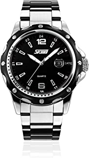 Mens Stainless Steel Band Analog Quartz Watch Dress Wrist Unique Luxury Business Work Casual Waterproof Watches Classic Calendar Date Window