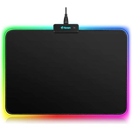 Hcman RGB Tappetino Mouse Gaming - LED Mouse Pad, Superficie Liscia, Base in Gomma Antiscivolo Tappetino per Mouse LED da Gioco per Computer, PC e Laptop, 340×250×3mm, Nero