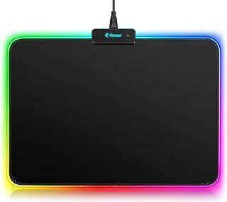 Hcman RGB Gaming Mauspad, LED Mousepad mit Rutschfester Gummiunterseite, Mouse Pad für MacBook, Computer PC, Laptop, Schre...