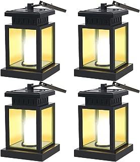 GVSHINE 4 Pack LED Solar Mission Lantern, Vintage Solar Powered Waterproof Hanging Umbrella Lantern Candle Lights Led with Clamp Beach Umbrella Tree Pavilion Garden Yard Lawn Etc Lighting & Decoration