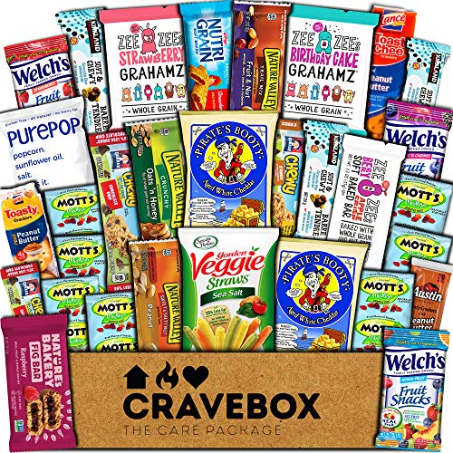 CraveBox Healthy Care Package (30 Count) Natural Food Bars Nuts Fruit Health Nutritious Snacks Variety Gift Box Pack Assortment Basket Bundle Mix Sampler College Students Final Exams Office Boy Summer