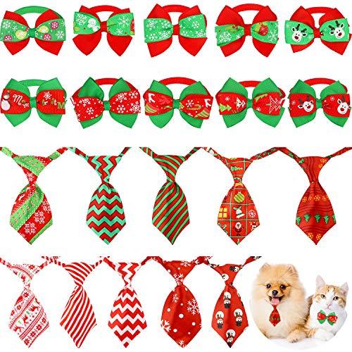 Syhood 20 Piezas de Corbatas para Perros de Navidad Pajaritas Ajustable de Navidad para Mascotas Pequeñas Corbatas Accesorios de Aseo de Perros para Fiesta de Navidad