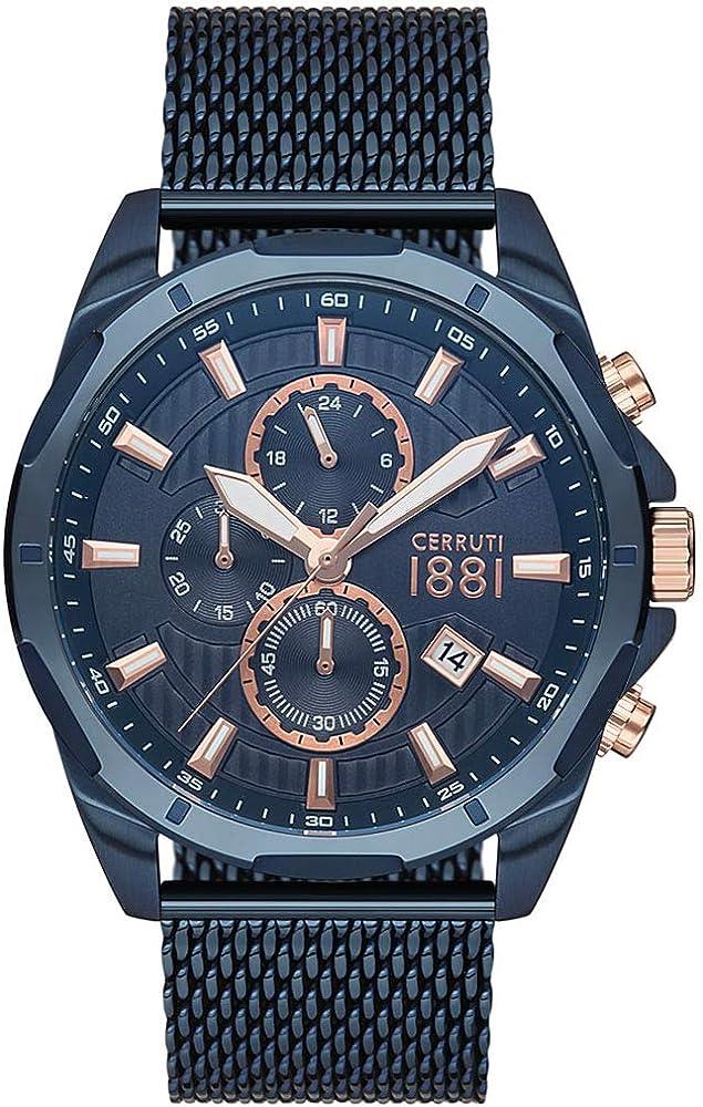 Cerruti 1881,orologio da uomo con cronografo,in acciaio blu CRA20504