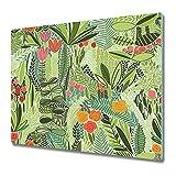 Coloray Tabla De Cortar Placa De Induccion 80x52cm Protector Para Servir Platos Cocina Vidrio Templado - Utensilio Wildflower Abstracto Palm Deja Jungle