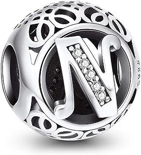 NINGAN Charme Lettre de l'alphabet Argent Sterling 925 Femmes Perles Charm avec 5A Zircone Compatible pour Pandora & Europ...