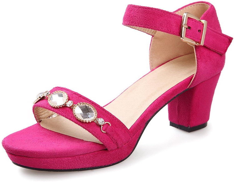 WeenFashion Women's Frosted Buckle Open Toe Kitten Heels Assorted color Sandals