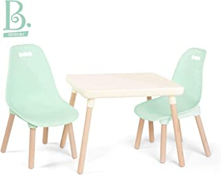 B toys – Kids Furniture Set – 1 Craft Table & 2 Kids Chairs with Natural Wooden Legs (Ivory and Mint)