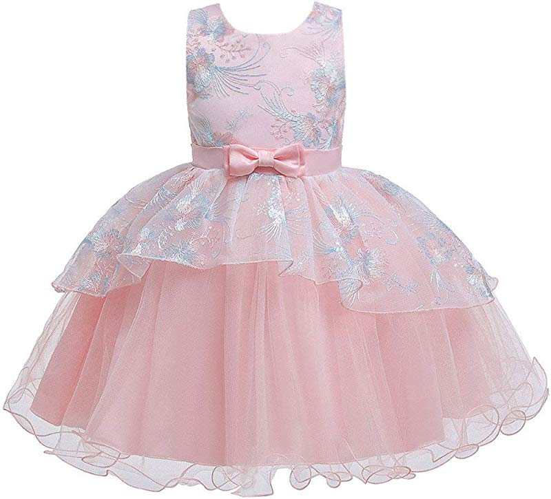 Jin Co Princess Dresses For Girls Kids Sleeveless Bowknot Lace Dress Elegant Christening Pageant Birthday Party Dress